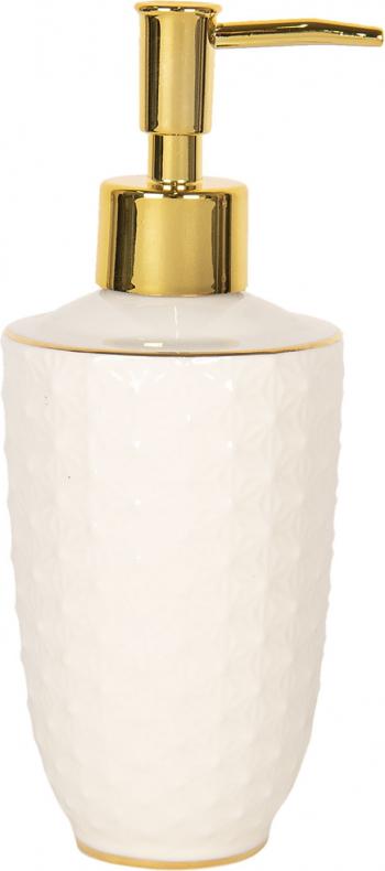 Dispenser ceramica alb auriu pentru sapun and Oslash 7 cm x 19 cm