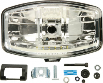 Far universal H7/LED 12/24V latime 244 8mm inaltime 141mm transparent plastic negru Sistem iluminat