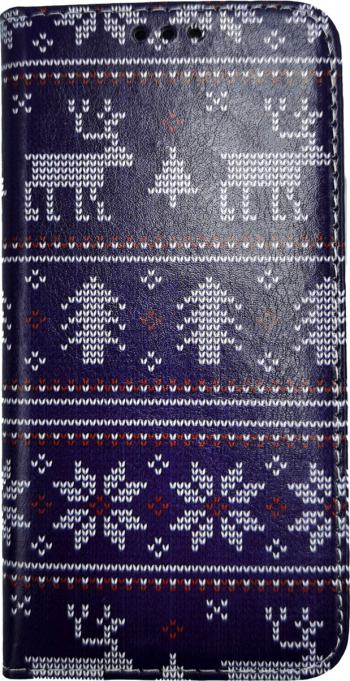 Husa Flip Carte Apple iPhone 11 Pro model model Christmas Knit Portofel cu Stand Antisoc Mov Huse Telefoane