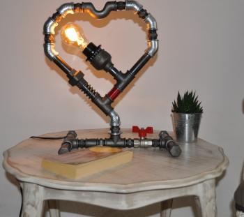 lampa inima steampunkdesigncj lampa steampunk corp de iluminat Corpuri de iluminat