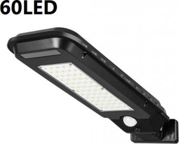 Lampa solara 60 LED senzor de miscare panou solar rezistenta la apa Negru Corpuri de iluminat