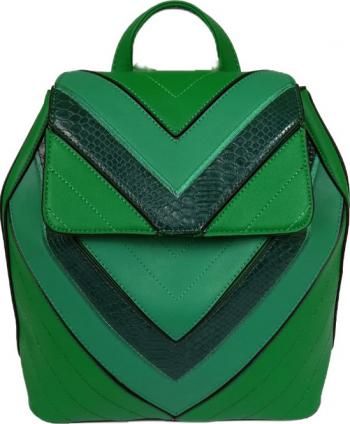 Rucsac dama din piele ecologica verde 27 x 25 x 12 cm RobertoZCollection Genti de dama
