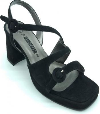 Sandale din piele naturala George negru 41 Incaltaminte dama
