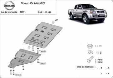 Scut auto metalic cutie de viteza + reductor Nissan Navara D 22 / toate motorizarile / 1997- Scuturi auto