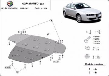 Scut auto metalic motor cutie de viteza Alfa Romeo 159 / toate motorizarile / 2005- Scuturi auto