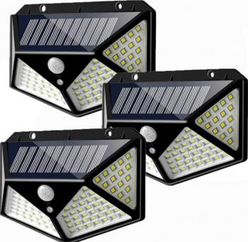 Set 3 x Lampa 100 LED cu panou solar senzor de miscare Corpuri de iluminat