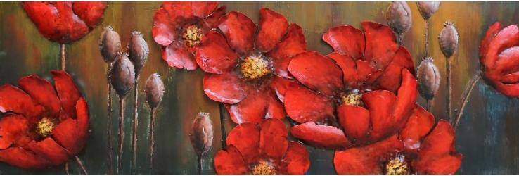 Tablou metal 3D Red Flowers 150x50 cm Obiecte de arta