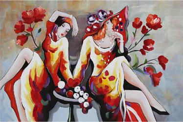 Tablou pictat manual 2 ladys 80 x 120 cm Rosu Tablouri