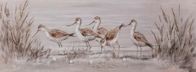 Tablou pictat manual Birds Stilt Walkers 50 x 150 cm Gri taupe Tablouri
