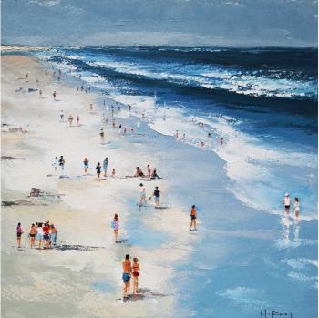 Tablou pictat manual Sea and people 100 x 100 cm Obiecte de arta
