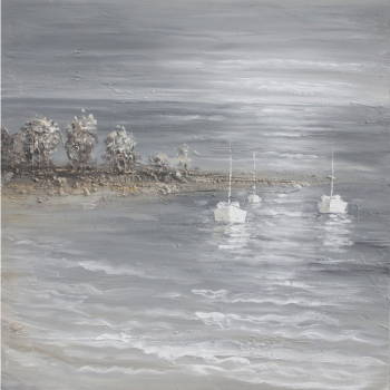 Tablou pictat manual Seaside grey 3 boats 100x100 cm Obiecte de arta