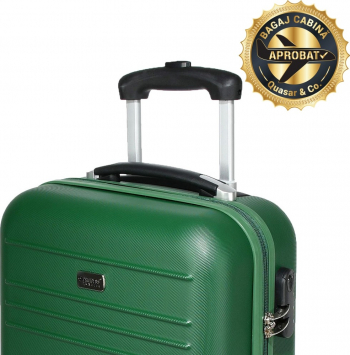 Troler cabina avion model Compatible Air Princess Traveller by Quasar and Co. 55 x 34 x 20 cm verde inchidere cifru