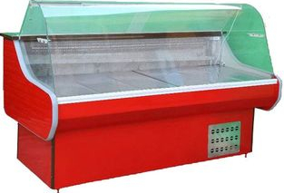 Vitrina Frigorifica orizontala KlaussTech cu Geam curbat Blat din Inox Termostat Automat cu Functie de control Temperatura Panouri din Lazi si congelatoare