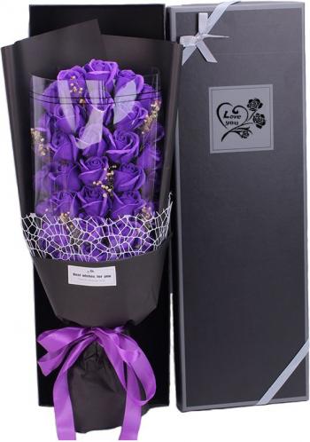 Buchet bogat trandafiri de sapun 33 bucati ambalaj cutie cadou culoare mov