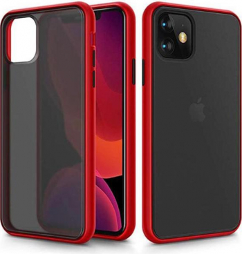 Husa protectie pentru iPhone 11 Pro MAX din TPU translucid dur anti-soc anti-amprenta in doua culori rosu cu negru model 2020 Huse Telefoane