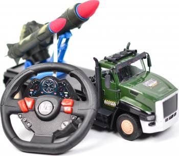 Masinuta militara de jucarie cu volan si rachete camion cu telecomanda sunete si lumini pentru copii AKX21C