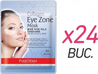 Masca colagen PureDerm pentru ochi - 30 buc. x 24 Masti, exfoliant, tonice