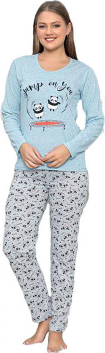Pijama dama SERENA bluza cu maneci lungi si pantaloni lungi bleu deschis mesaj jump on you