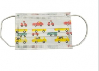 Set de 50 de Masti de unica folosinta pentru copii cu model masini 3 pliuri si 3 straturi Alb Masti chirurgicale si reutilizabile