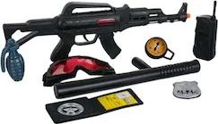 Set echipament Shopiens de politie cu arme mitraliera busola statie insigna grenada masca si baston