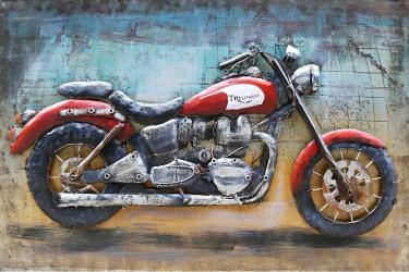 Tablou metal 3D Motorcycle 120x80 cm Decoratiuni Interioare si Exterioare