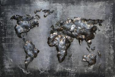Tablou metal 3D World Map 120x80 cm Obiecte de arta
