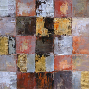 Tablou pictat manual Squares gold brown 100 x 100 cm Obiecte de arta