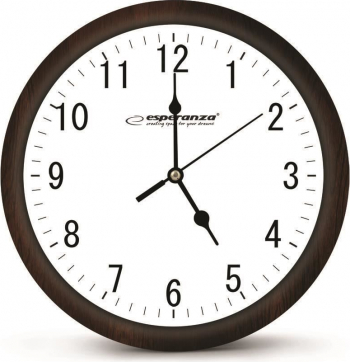 Ceas de perete Esperanza model Los Angeles cadran maro fond alb 30 cm Ceasuri si Radio cu ceas