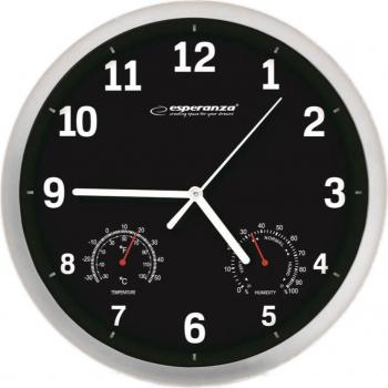 Ceas de perete Esperanza model Lyon termometru si higrometru cadran argintiu fond negru 25 cm Ceasuri si Radio cu ceas