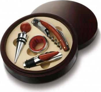 Cutie rotunda din lemn cu 4 accesorii pentru vin Cadouri