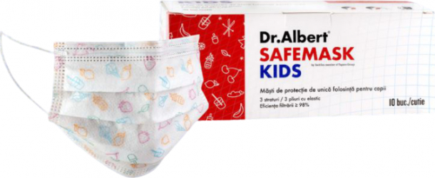 Set 30 masti pentru copii Dr.Albert SAFEMASK KIDS cu model sterile Masti chirurgicale si reutilizabile