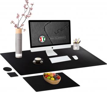 Set mapa birou Office pentru protectie Unika din piele PU 1 suport farfurie si 2 suporturi pahar negru 89 cm Articole si accesorii birou