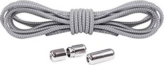Sireturi Elastice cu sistem NO TOUCH cu Capsula Metalica SIRETILA Rotunde Gri Accesorii incaltaminte