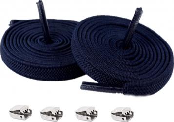 Sireturi Elastice cu sistem NO TOUCH cu clips metalic SIRETILA Plate Navy Blue Accesorii incaltaminte