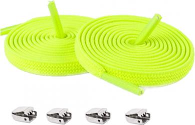 Sireturi Elastice cu sistem NO TOUCH cu clips metalic SIRETILA Plate Verde Fluorescent Accesorii incaltaminte