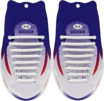 Sireturi Elastice din Silicon pentru pantofi sport functie NO TOUCH SIRETILA Alb