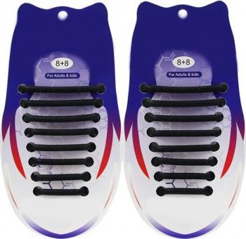 Sireturi Elastice din Silicon pentru pantofi sport functie NO TOUCH SIRETILA Negru