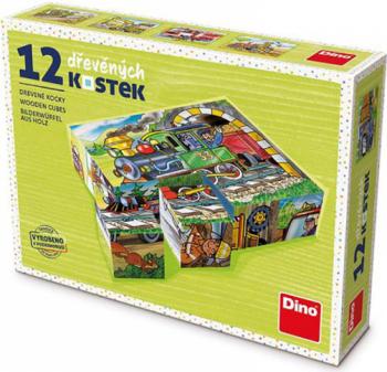 Puzzle din lemn cuburi Locomotiva 12 buc 6 imagini posibile Puzzle