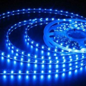 Banda LED flexibila SMD3528 12V DC 4.8W/M 60LED-uri/M albastru 5m nerezistenta la apa Corpuri de iluminat