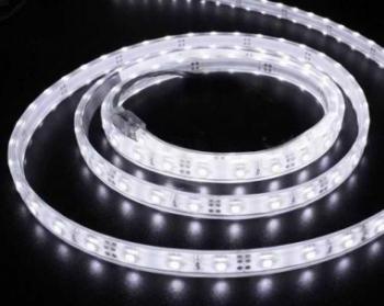Banda LED flexibila SMD3528 12V DC 9.6W/m 120LED-uri/m alb cald 5m rezistenta la apa IP65 Corpuri de iluminat