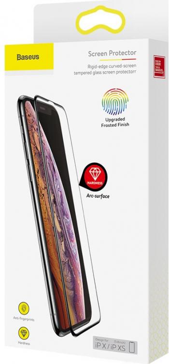 Folie Sticla Baseus Rigid-edge Tempered Glass Matte 9H iPhone XXS11 Pro Negru Folii Protectie