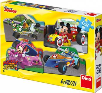 Puzzle 4 in 1 - Mickey Mouse si Minnie la cursa 54 piese Puzzle