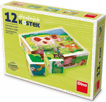 Puzzle din lemn cuburi La ferma 12 buc 6 imagini posibile Puzzle
