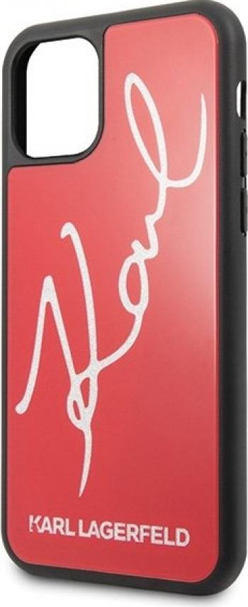 Husa de protectie Karl Lagerfeld Signature Glitter iPhone 11 Pro Rosu Huse Telefoane