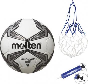 Minge fotbal Molten F4V1700 marime 4 cusuta manual pompa si plasa