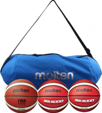 Set 3 mingi baschet Molten antrenament si competitie cu geanta de transport
