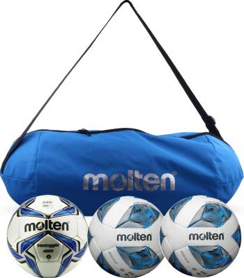 Set 3 mingi fotbal Molten FIFA Q Pro antrenament si competitie 2 x F5A3555 + 1 x F5V4800 geanta transport Accesorii fitness
