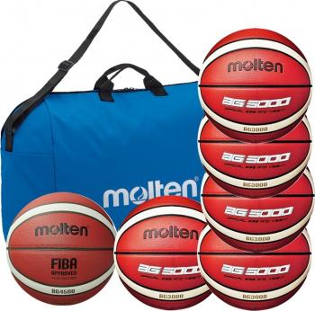 Set 6 mingi baschet antrenament si competitie Molten PRO geanta inclusa