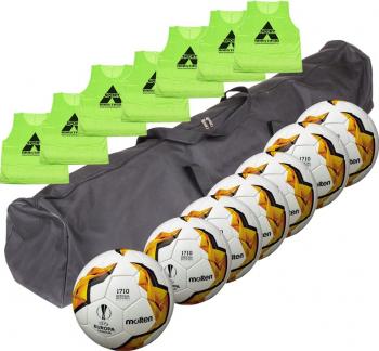 Set antrenament fotbal Molten 7 x minge fotbal Moten F5U1710 + 7 vesta antrenament Anastasia Sport + geanta transport
