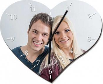 Ceas personalizat din sticla forma inima model cu o poza 18x24 5 cm Cadouri
